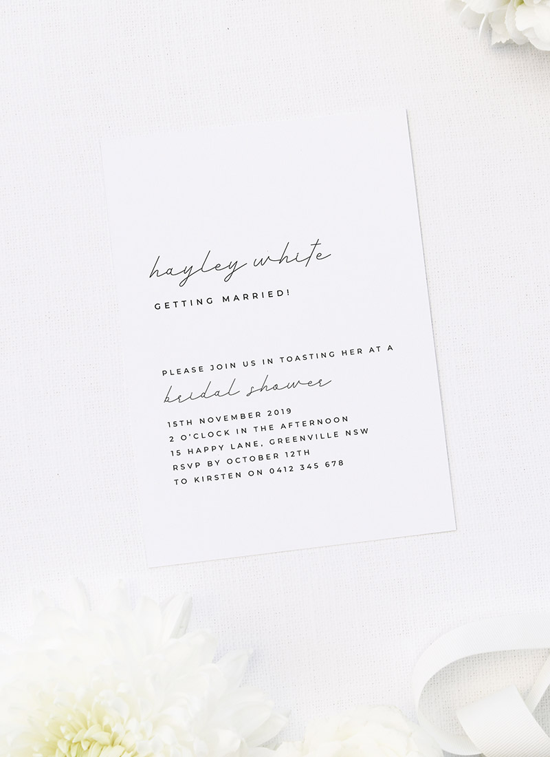 Modern Simple Minimal Bridal Shower Invitations