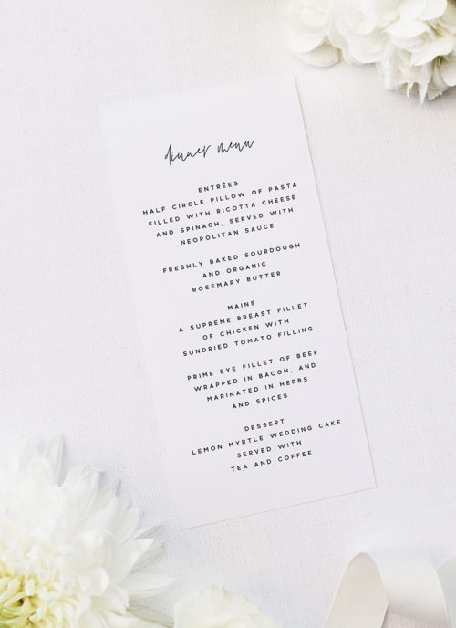 Modern Minimal Sophisticated Hand Cursive Wedding Menus Modern Minimal Sophisticated Hand Cursive Wedding Invitations