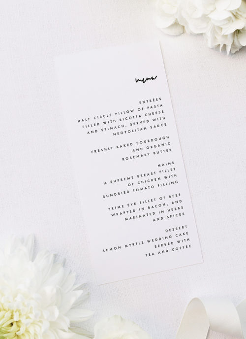 Modern Minimal Contemporary Simple Wedding Menus Modern Minimal Contemporary Simple Wedding Invitations