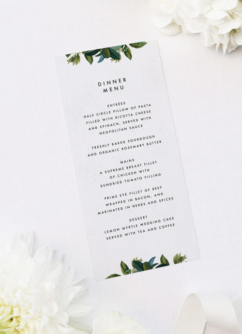 Modern Botanical Leaf Wedding Menus Modern Botanical Leaf Wedding Invitations