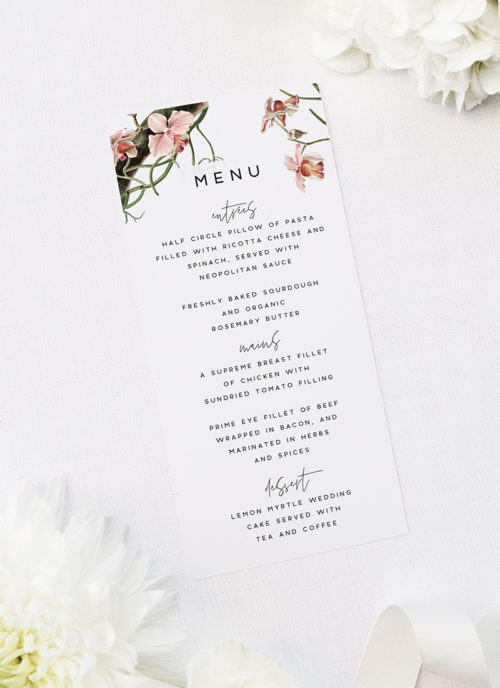Orchid Flower Wedding Menus Orchid Flower Wedding Invitations - Peach Pink Orchid Flowers