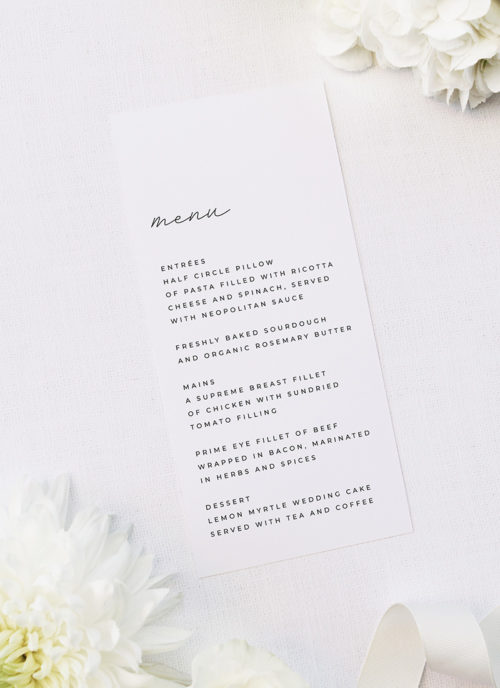 Cursive Hand Writing Modern Minimal Wedding Menus Cursive Hand Writing Modern Minimal Wedding Invitations