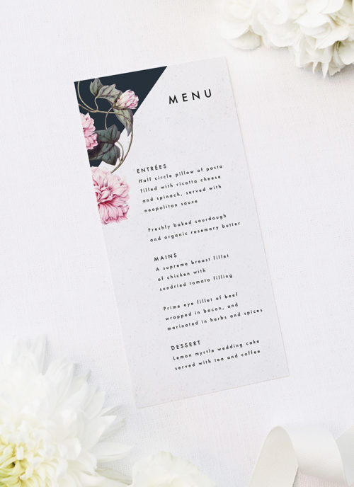Contemporary Geometric Botanical Wedding Menus Contemporary Geometric Botanical Wedding Invitations Black and White Edgy Striking Layout Modern Flower Pink Floral Bloom