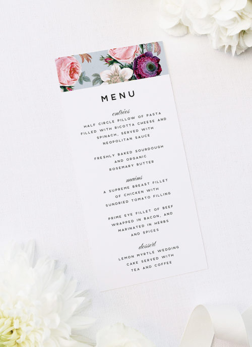 Elegant Rose Bouquet Floral Wedding Menus Elegant Rose Bouquet Floral Wedding Invitations
