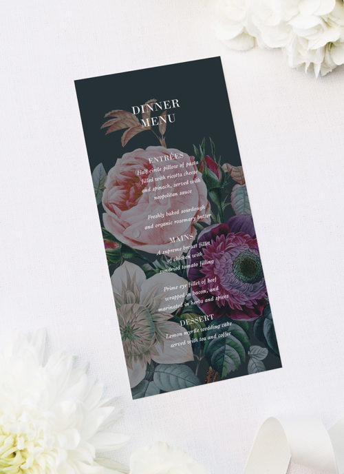 Dark Moody Floral Wedding Menus Dark Moody Floral Wedding Invitations