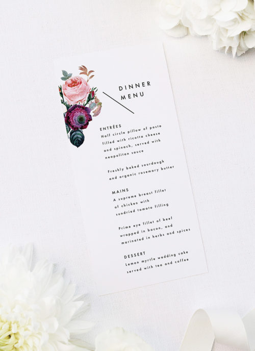 Modern Minimal Floral Rose Wedding Menus Modern Minimal Floral Rose Wedding Invitations