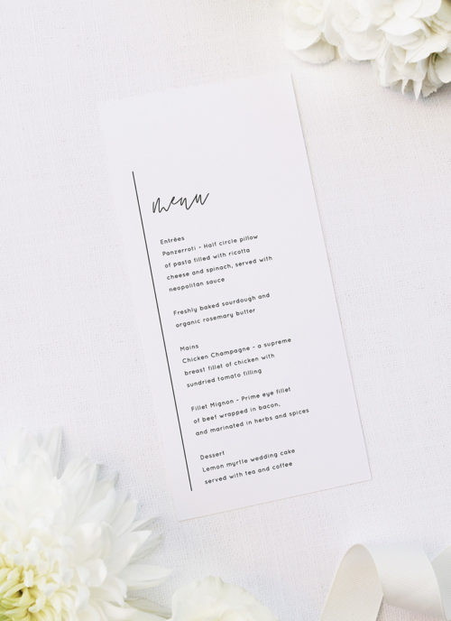 Modern Minimal Sophisticated Hand Script Wedding Menus Modern Minimal Sophisticated Hand Script Wedding Invitations