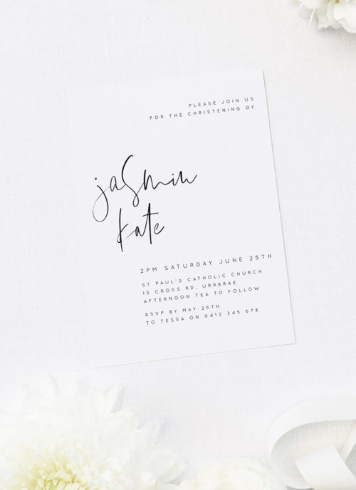 Elegant Black and White Brush Script Christening Invitations