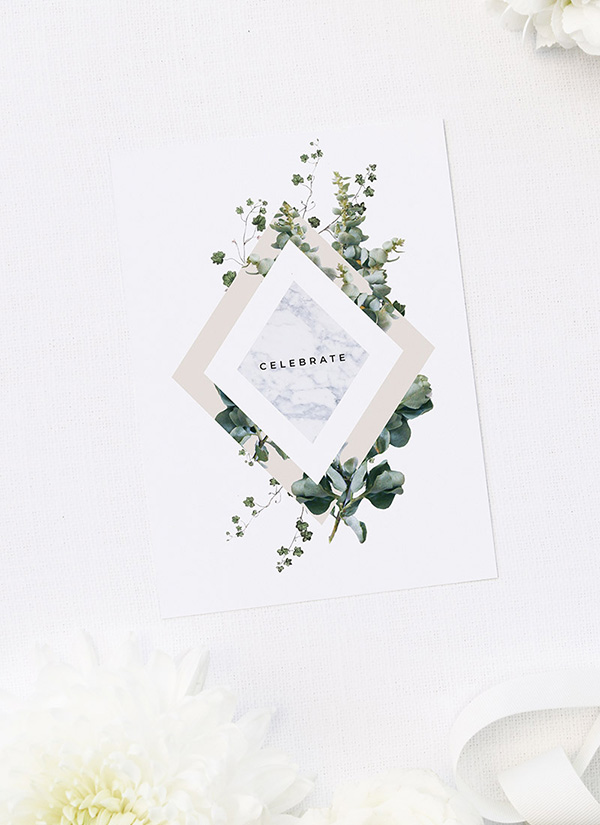 Natural Greenery Botanical Bridal Shower Invitations