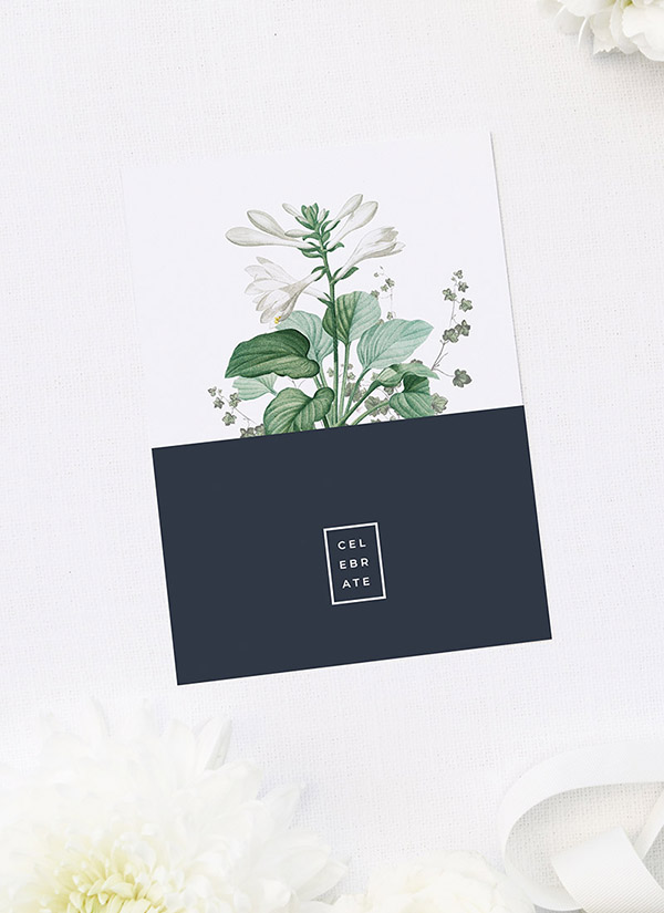 Elegant Botanical Modern Navy Bridal Shower Invitations