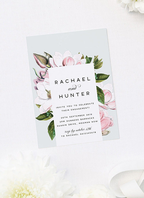 Elegant Magnolia Flower Botanical Engagement Invitations