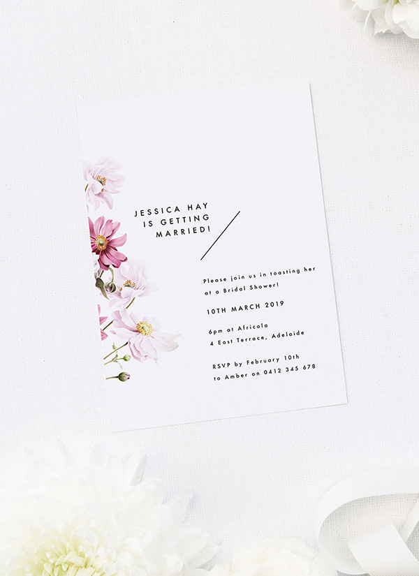 Modern Pink White Petal Flower Floral Bridal Shower Invitations