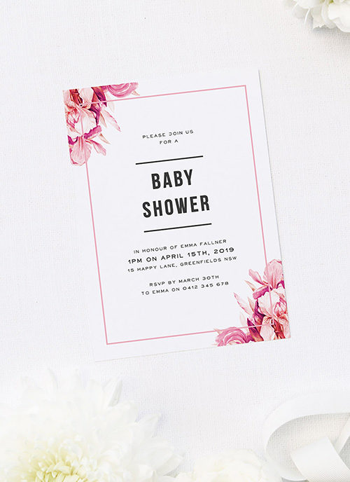 Pink Petals Baby Shower Invitations