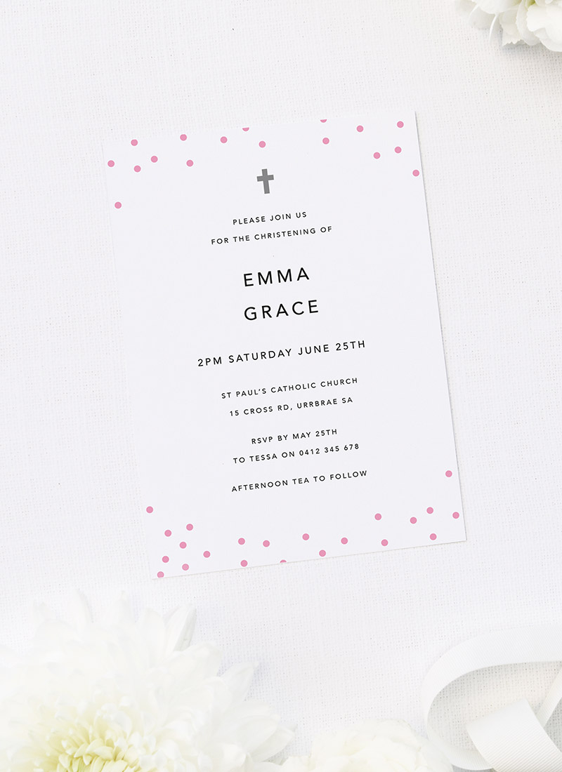 Pink Polkadots Christening Invitations