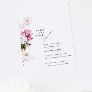 Modern Pink White Petal Flower Floral Engagement Invitations