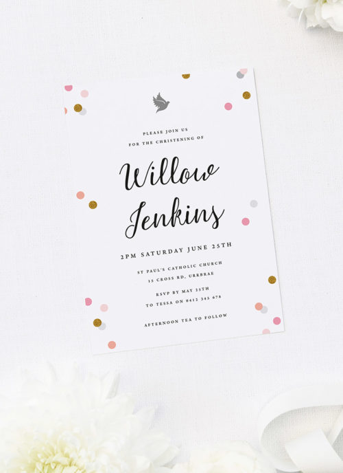 Pink Confetti Christening Invitations