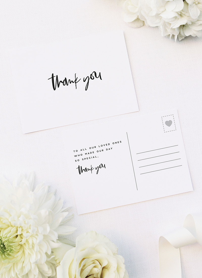 Modern Minimal Bold Brush Script Wedding Thank You Postcards Modern Minimal Bold Brush Script Wedding Invitations
