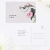 Modern Pink Grey Floral Wedding Thank You Postcards Modern Pink Grey Floral Wedding Invitations elegant pink flower floral vine leaf greenery