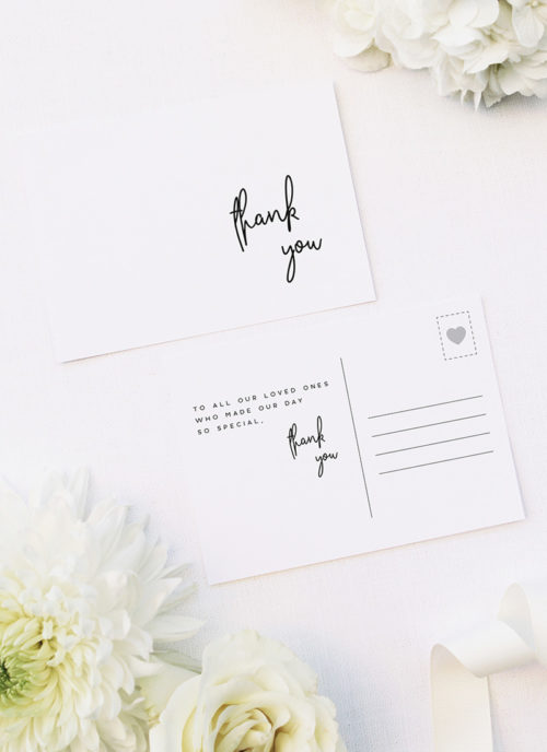 Elegant Cursive Modern Minimal Wedding Thank You Postcards Elegant Cursive Modern Minimal Wedding Invitations