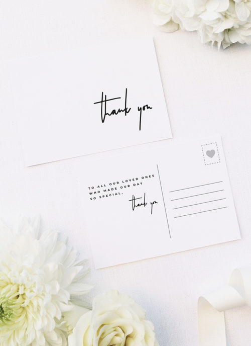 Large Feature Hand Writing Modern Minimal Wedding Thank You Postcards Large Feature Hand Writing Modern Minimal Wedding Invitations