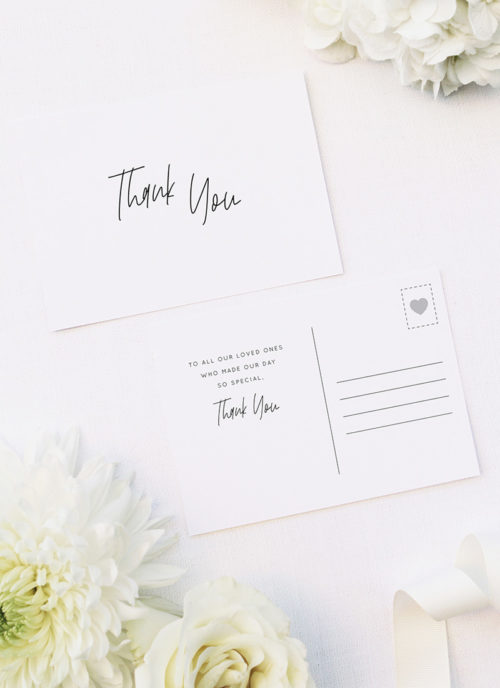 Modern Writing Font Minimal Line Hand Script Wedding Thank You Postcards Modern Writing Font Minimal Line Hand Script Wedding Invitations