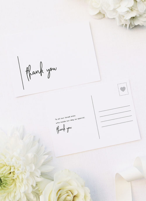 Simple Modern Hand Writing Line Wedding Thank You Cards Simple Modern Hand Writing Line Wedding Invitations