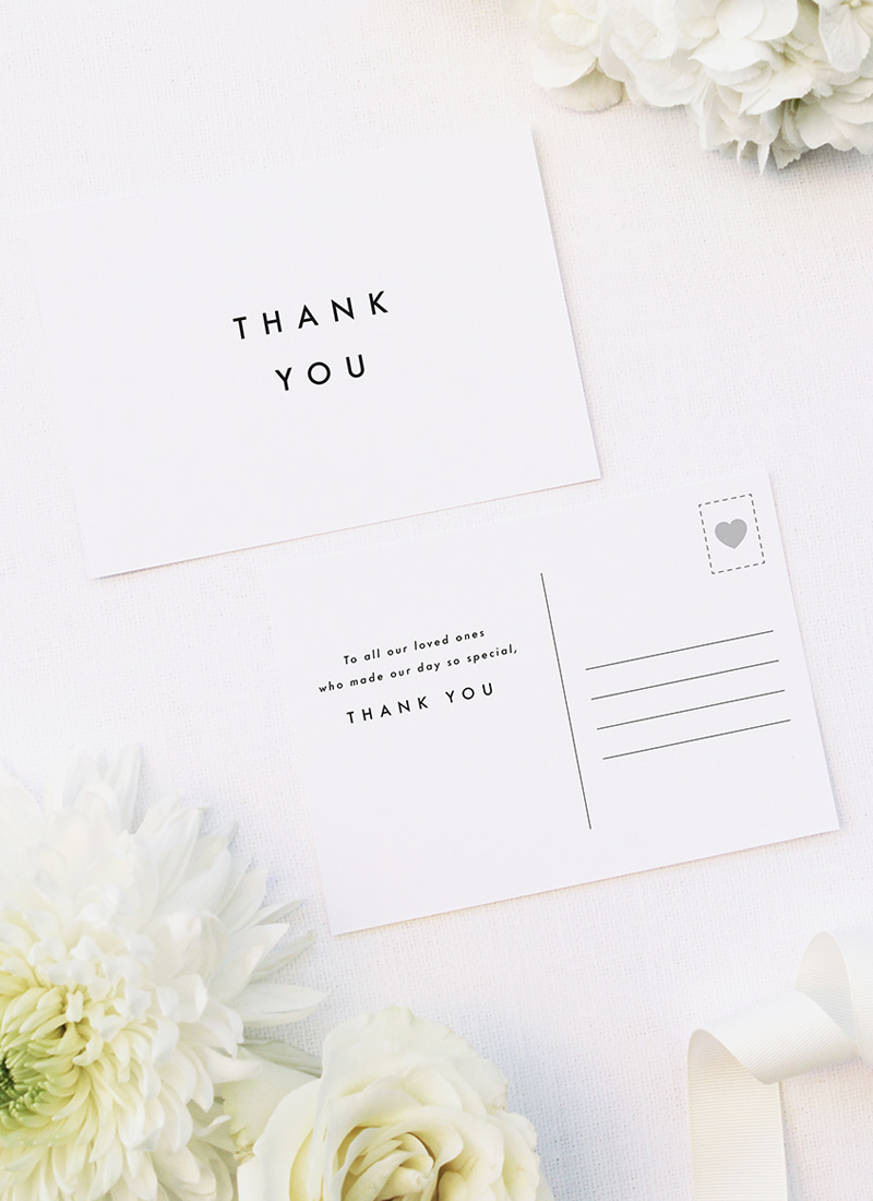 Bold Capital Text Simple Minimal Wedding Thank You Postcards Bold Capital Text Simple Minimal Wedding Invitations