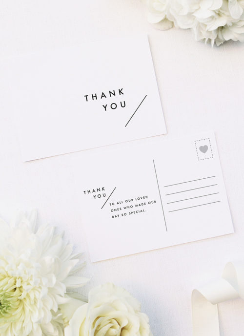 Modern Line Layout Clean Minimal Wedding Thank You Postcards Modern Line Layout Clean Minimal Wedding Invitations