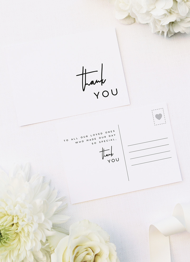 Modern Layout Feature Names Wedding Thank You Postcards Modern Layout Feature Names Wedding Invitations