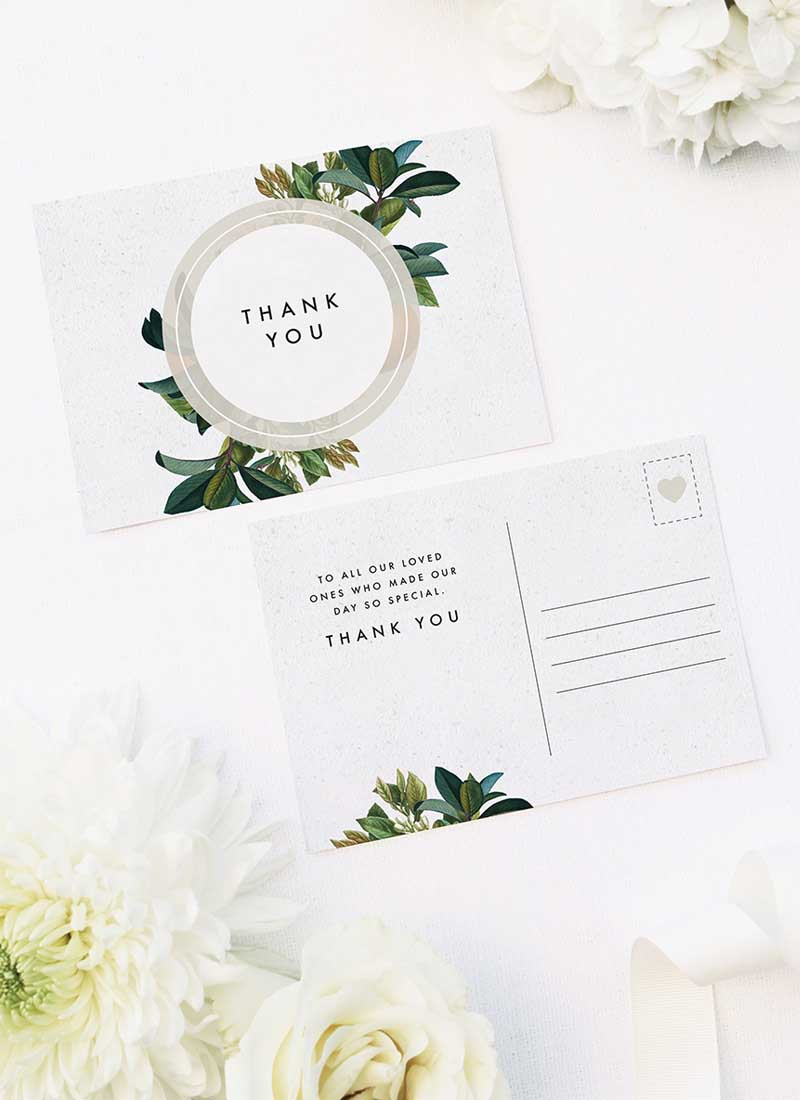 Modern Botanical Leaf Wedding Thank You Postcards Modern Botanical Leaf Wedding Invitations