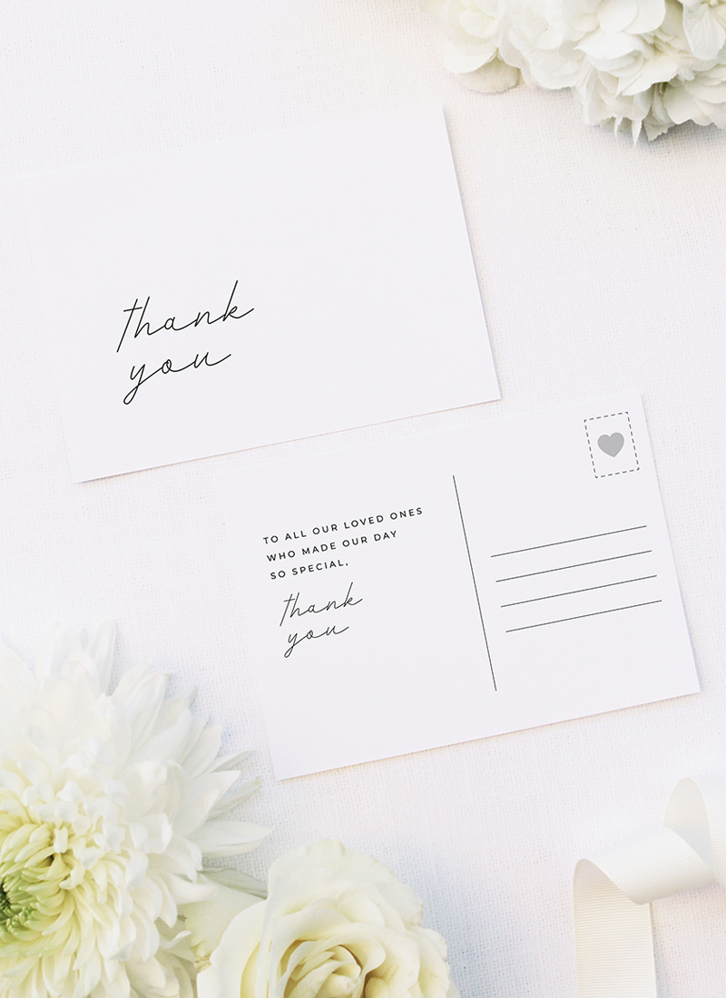 Cursive Hand Writing Modern Minimal Wedding Thank You Postcards Cursive Hand Writing Modern Minimal Wedding Invitations