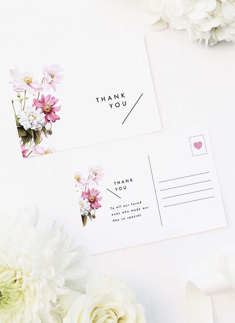 White Pink Daisies Wedding Thank You Postcards White Pink Daisies Wedding Invitations