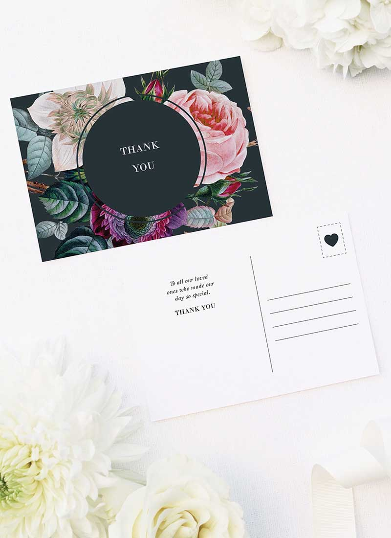 Dark Moody Floral Wedding Thank You Postcards Dark Moody Floral Wedding Invitations