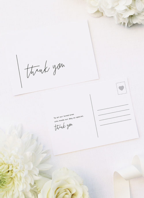 Modern Minimal Sophisticated Hand Script Wedding Thank You Postcards Modern Minimal Sophisticated Hand Script Wedding Invitations