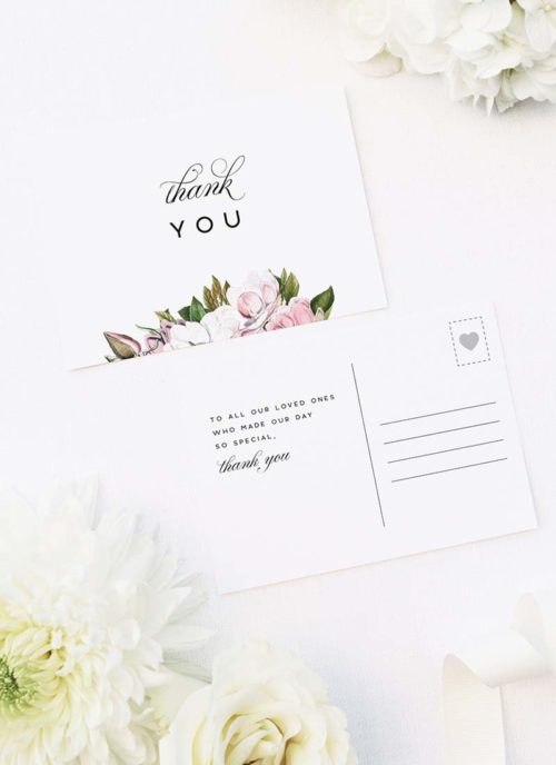 Elegant Magnolia Flowers Wedding Thank You Postcards Elegant Magnolia Flowers Wedding Invitations Pink Florals green Leaves Classic Elegant Writing Simple Beautiful