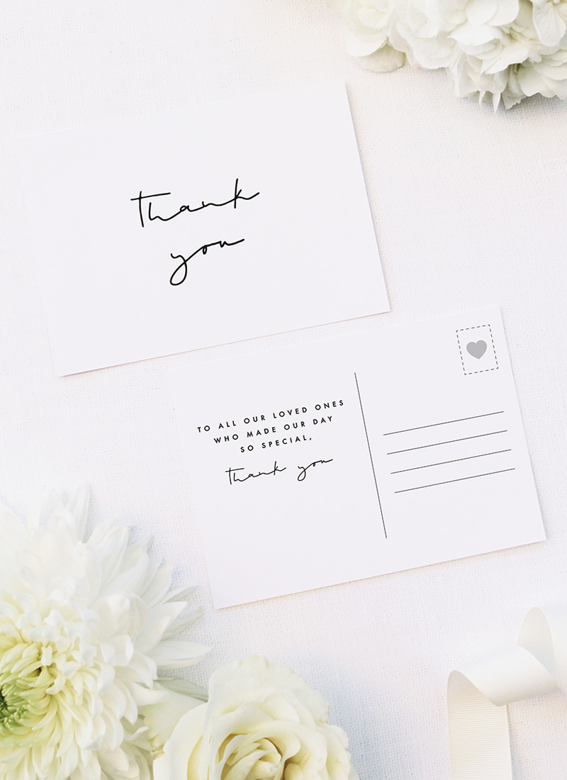 Minimal Contemporary Hand Writing Script Wedding Thank You Postcards Minimal Contemporary Hand Writing Script Wedding Invitations