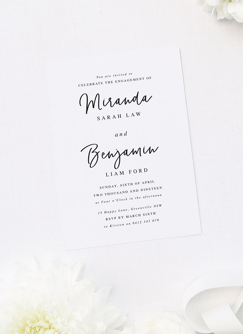 Stunning Cursive Script Writing Engagement Invitations