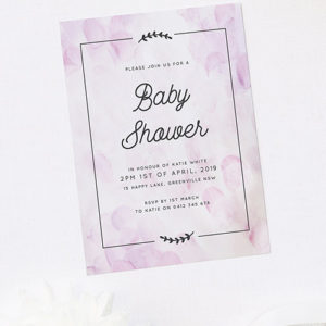 Cute Border Lilac Purple Baby Shower Invitations