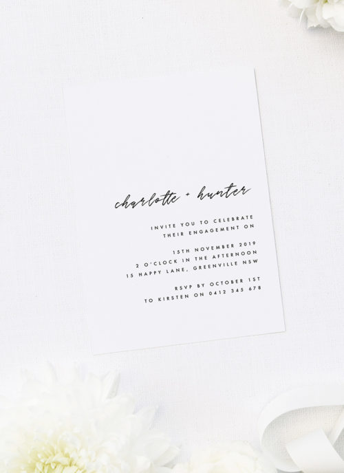Simple Brush Script Names Engagement Invitations