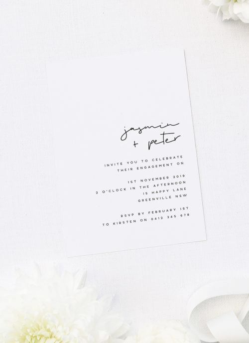 Modern Layout Simple Writing Engagement Invitations