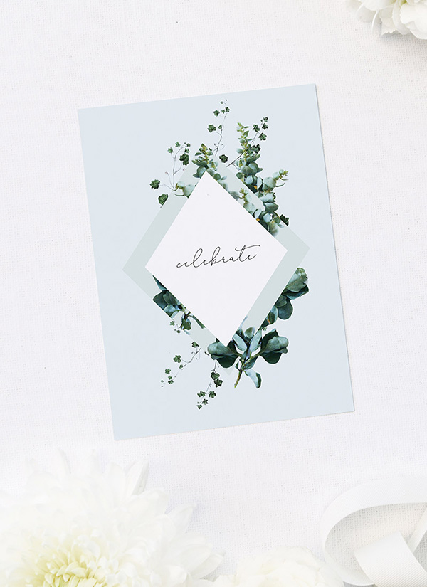 Pastel Blue Romantic Botanical Greenery Bridal Shower Invitations