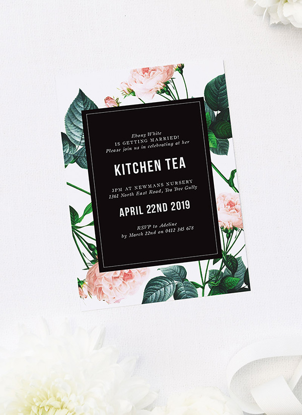 Modern Rose Kitchen Tea Invitations