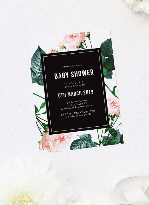Modern Rose Baby Shower Invitations