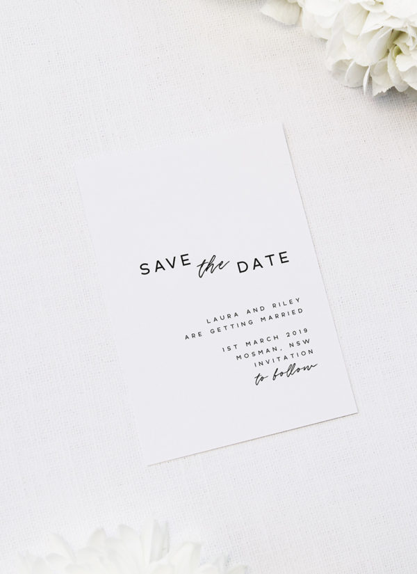 Simple Save The Date Minimal Wedding Stationery Minimalist Save The Date Card