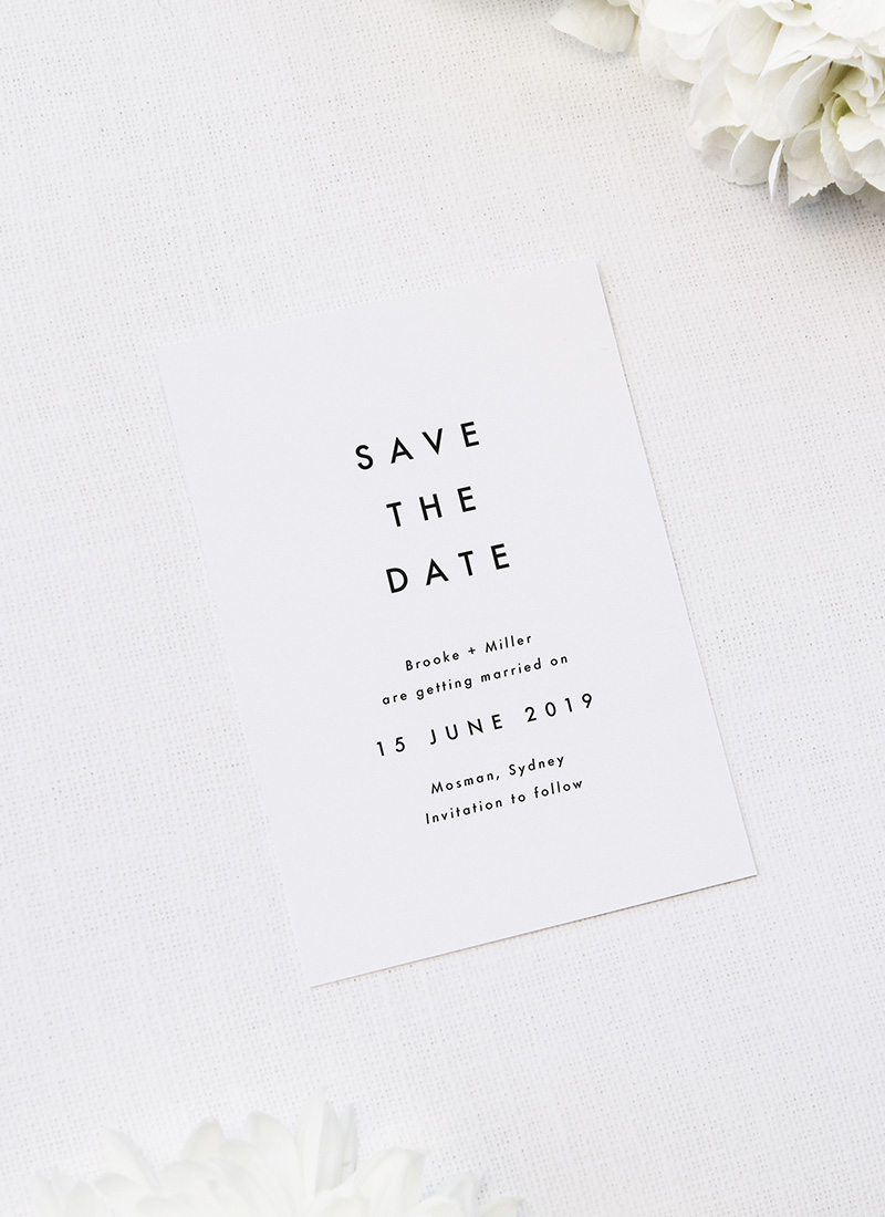 Bold Capital Text Simple Minimal Wedding Invitations
