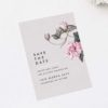 Pink Grey Floral Save the Dates Modern Pink Grey Floral Wedding Invitations elegant pink flower floral vine leaf greenery