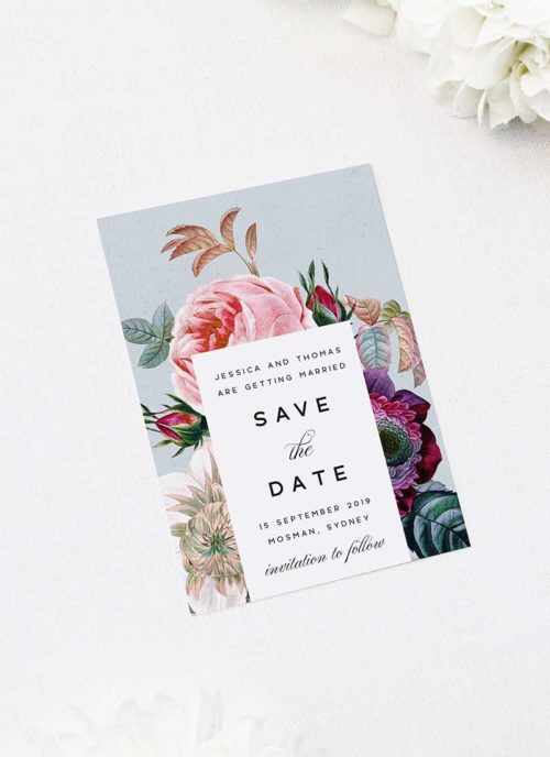 Elegant Rose Bouquet Floral Save the Dates