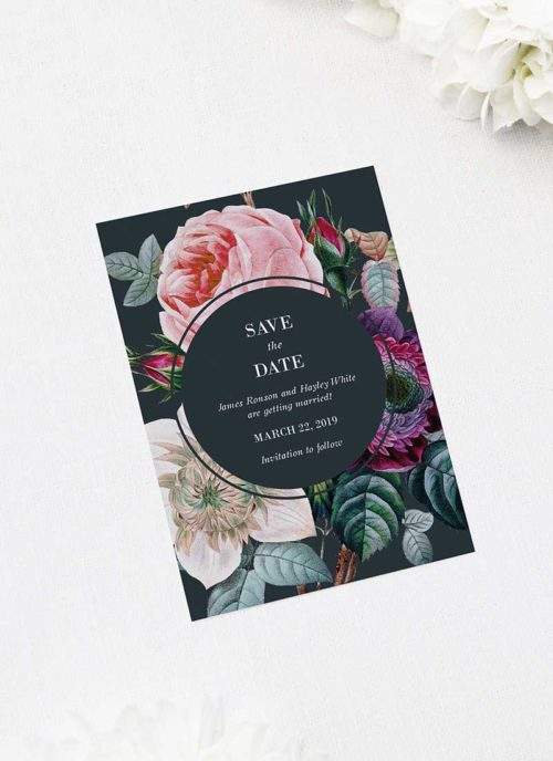 Dark Moody Floral Save the Dates Dark Moody Floral Wedding Invitations