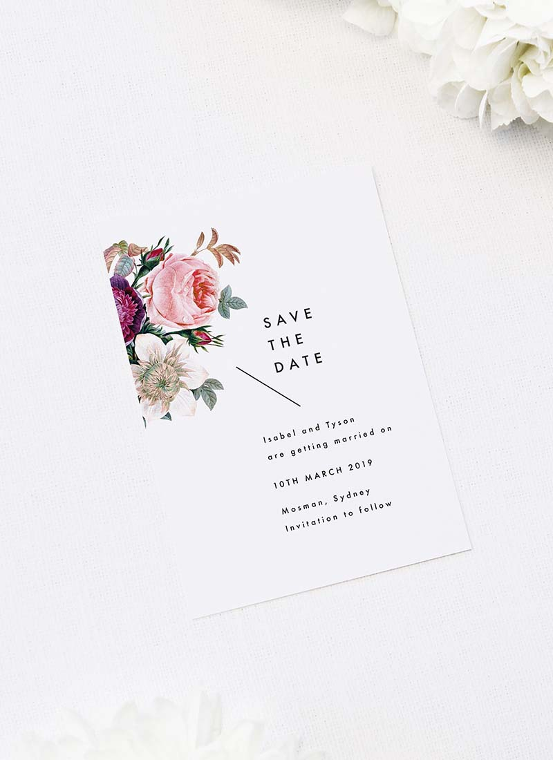 Modern Minimal Floral Rose Save the Dates Modern Minimal Floral Rose Wedding Invitations