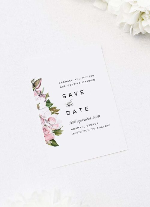 Elegant Magnolia Flowers Save the Dates Elegant Magnolia Flowers Wedding Invitations Pink Florals green Leaves Classic Elegant Writing Simple Beautiful